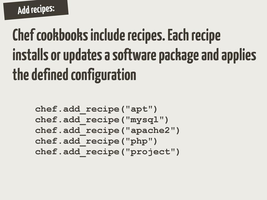 Add recipes: Chef cookbooks include recipes. Ea...