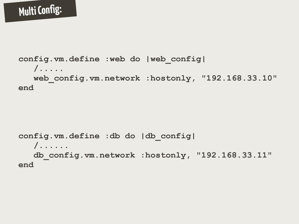 Multi Config: config.vm.define :web do |web_con...