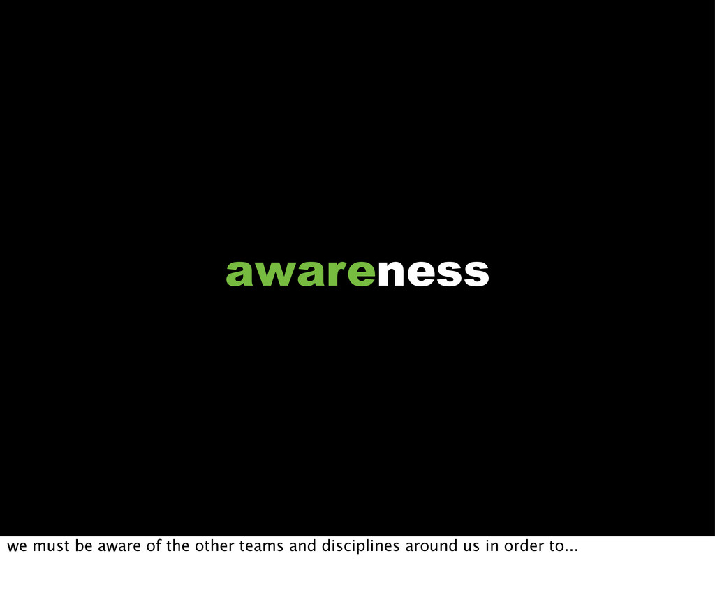 awareness we must be aware of the other teams a...