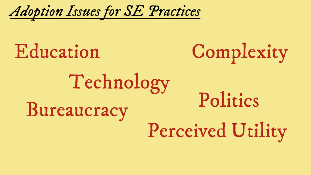 Adoption Issues for SE Practices Politics Techn...