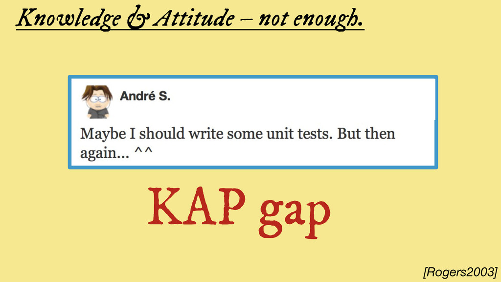 Knowledge & Attitude – not enough. KAP gap [Rog...