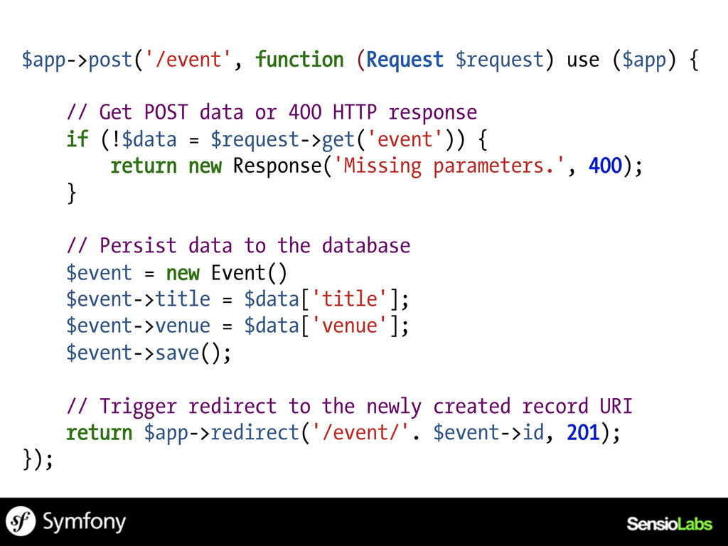 $app->post('/event', function (Request $request...