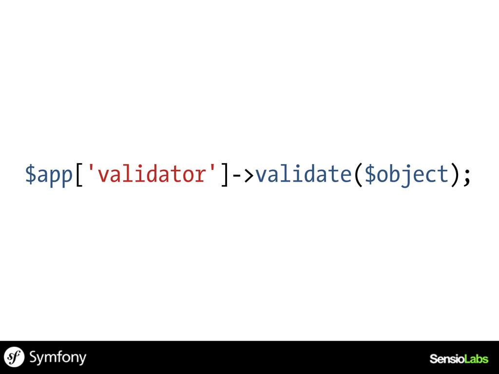 $app['validator']->validate($object);