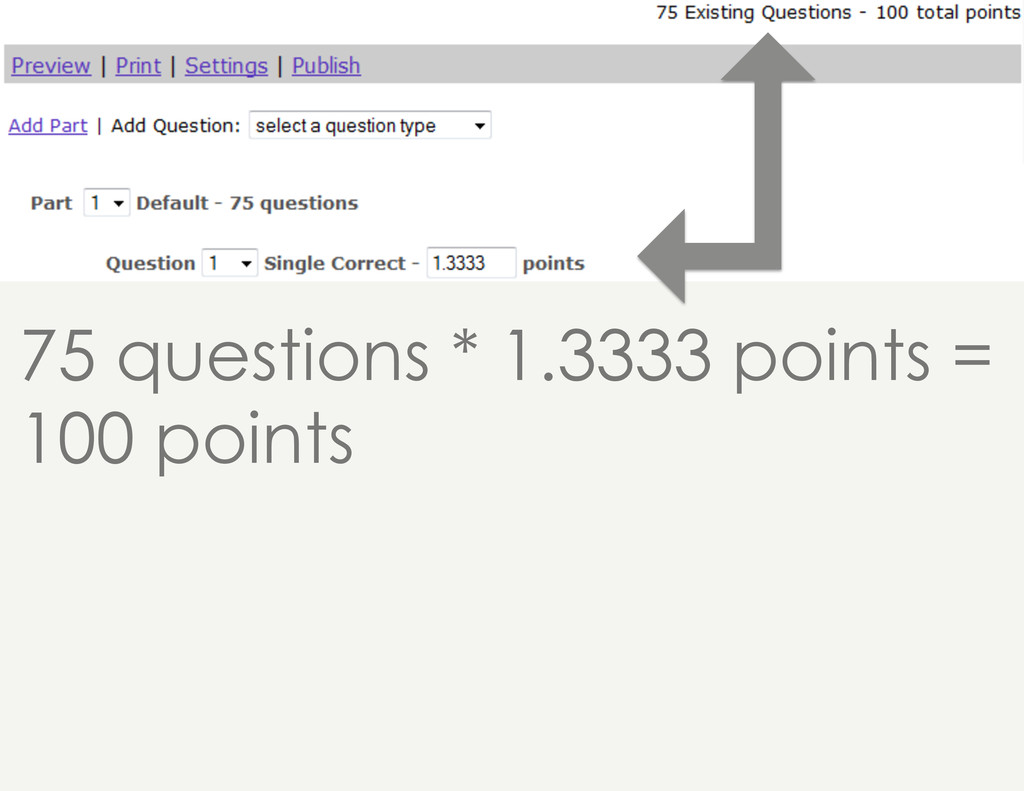 75 questions * 1.3333 points = 100 points