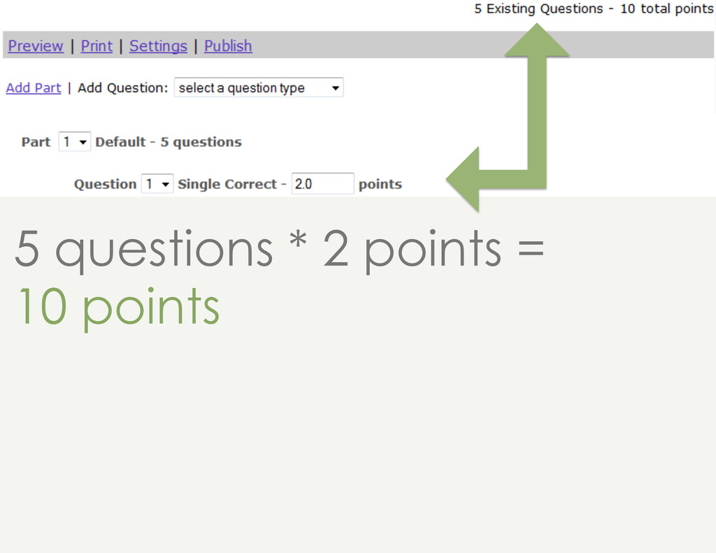 5 questions * 2 points = 10 points