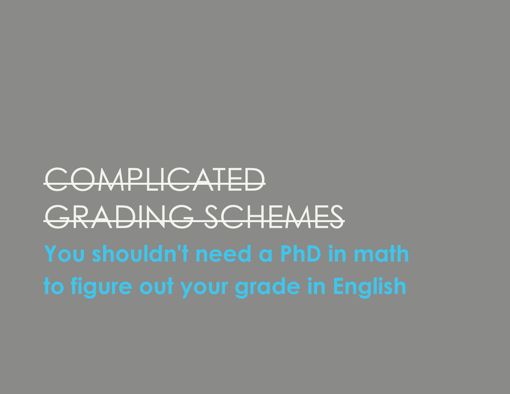 COMPLICATED GRADING SCHEMES You shouldn't need ...