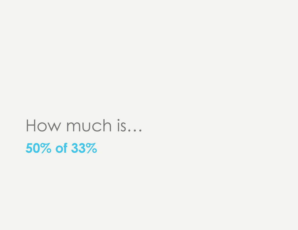 How much is… 50% of 33%