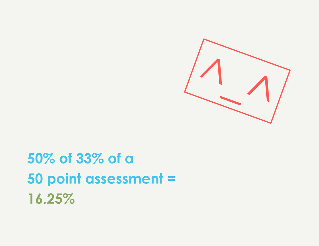 50% of 33% of a 50 point assessment = 16.25%