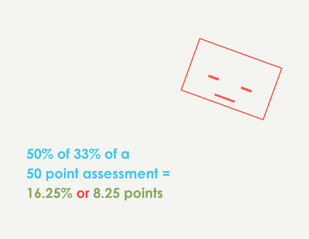 50% of 33% of a 50 point assessment = 16.25% or...