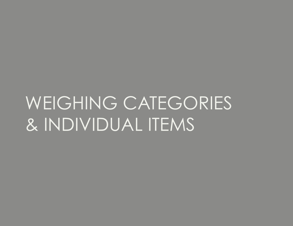 WEIGHING CATEGORIES & INDIVIDUAL ITEMS