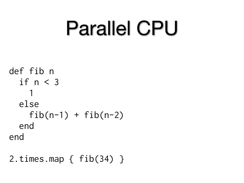 Parallel CPU def fib n if n < 3 1 else fib(n-1)...