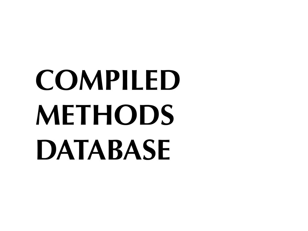 COMPILED METHODS DATABASE