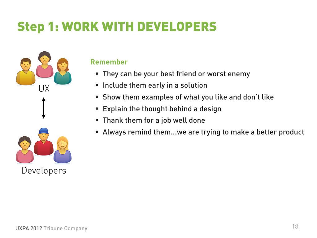 UXPA 2012 Tribune Company 18 Step 1: WORK WITH ...