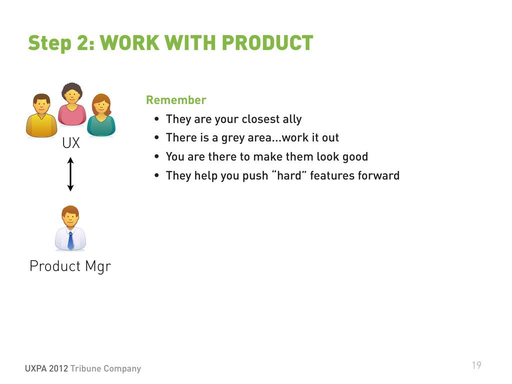 UXPA 2012 Tribune Company 19 Step 2: WORK WITH ...