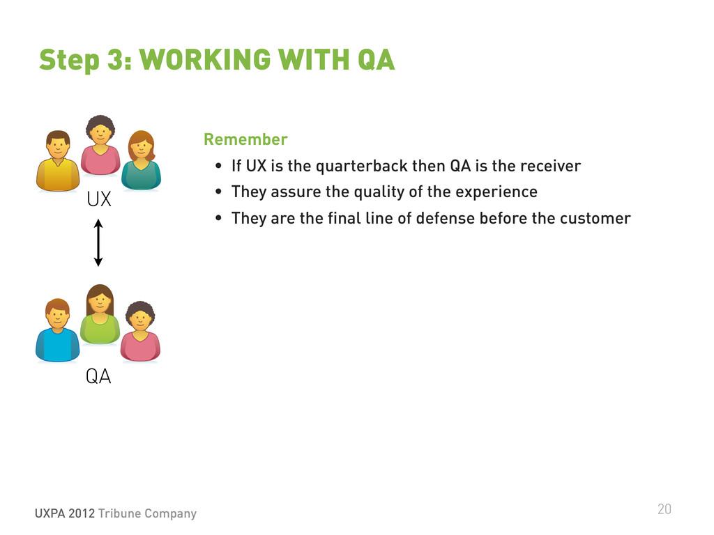 UXPA 2012 Tribune Company 20 Step 3: WORKING WI...