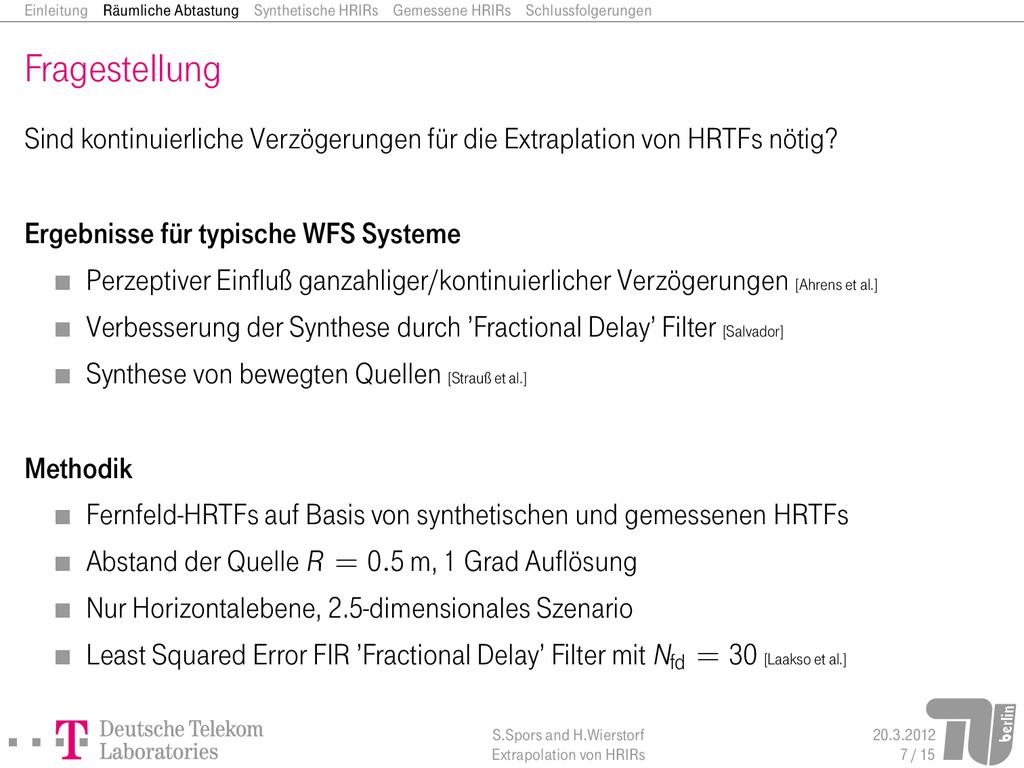 Einleitung Räumliche Abtastung Synthetische HRI...