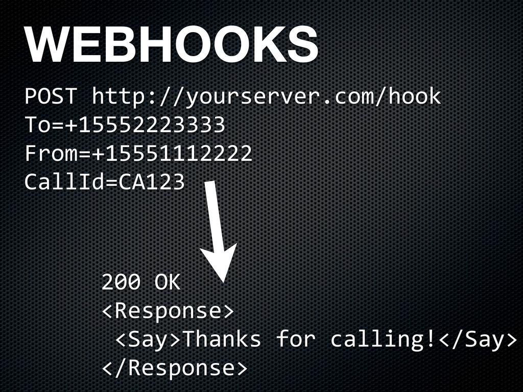 WEBHOOKS POST(http://yourserver.com/hook To=+15...