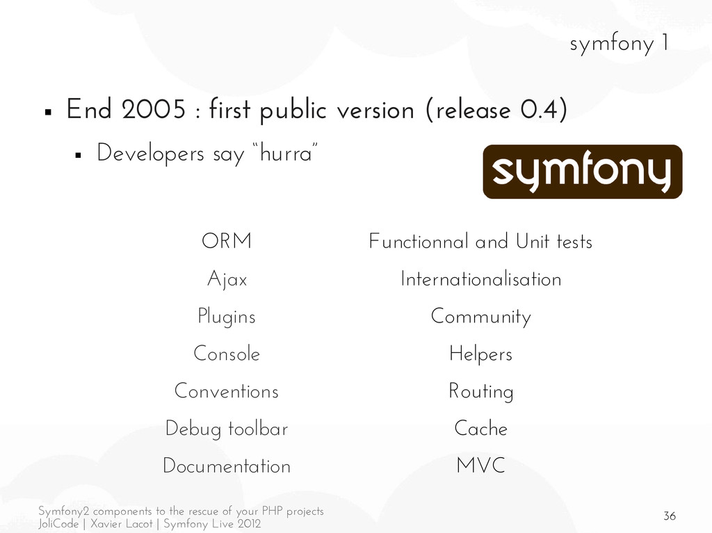 36 Symfony2 components to the rescue of your PH...