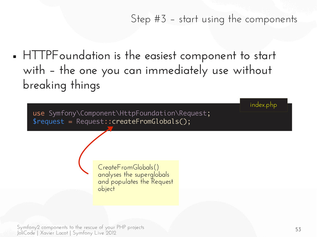 53 Symfony2 components to the rescue of your PH...