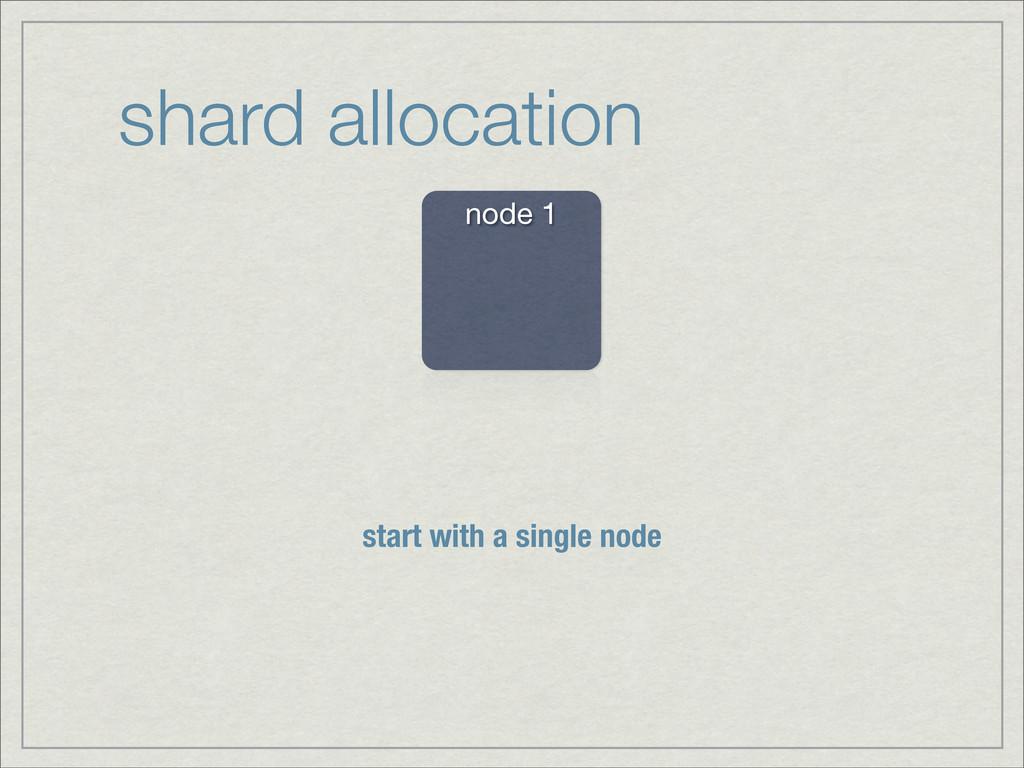 shard allocation node 1 start with a single node