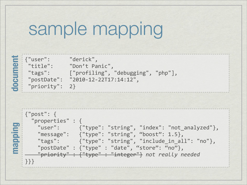 """sample mapping {""""user"""":      """"derick"""",  ..."""
