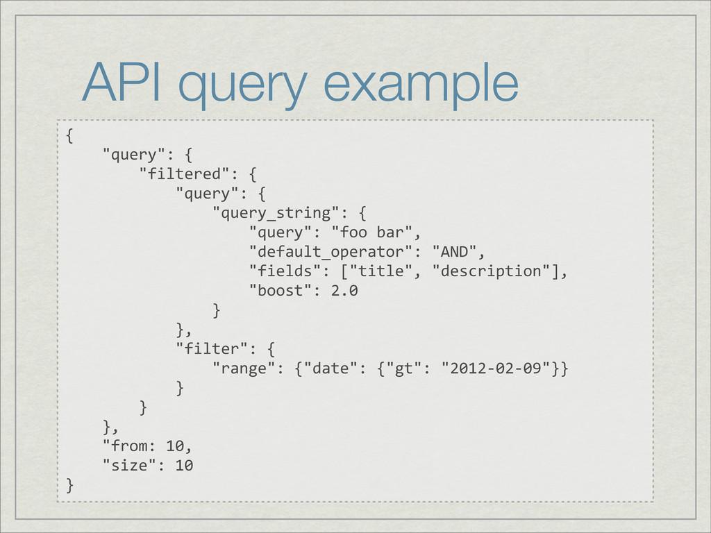 """API query example {     """"query"""": {     ..."""
