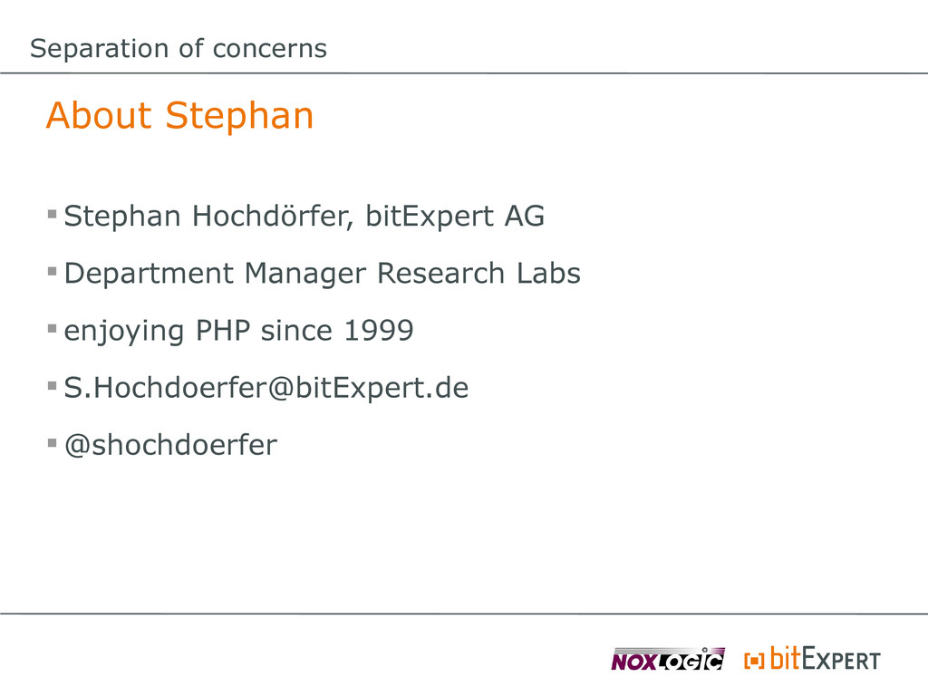 Separation of concerns About Stephan  Stephan ...