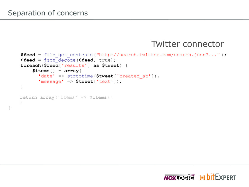 Separation of concerns $feed = file_get_content...