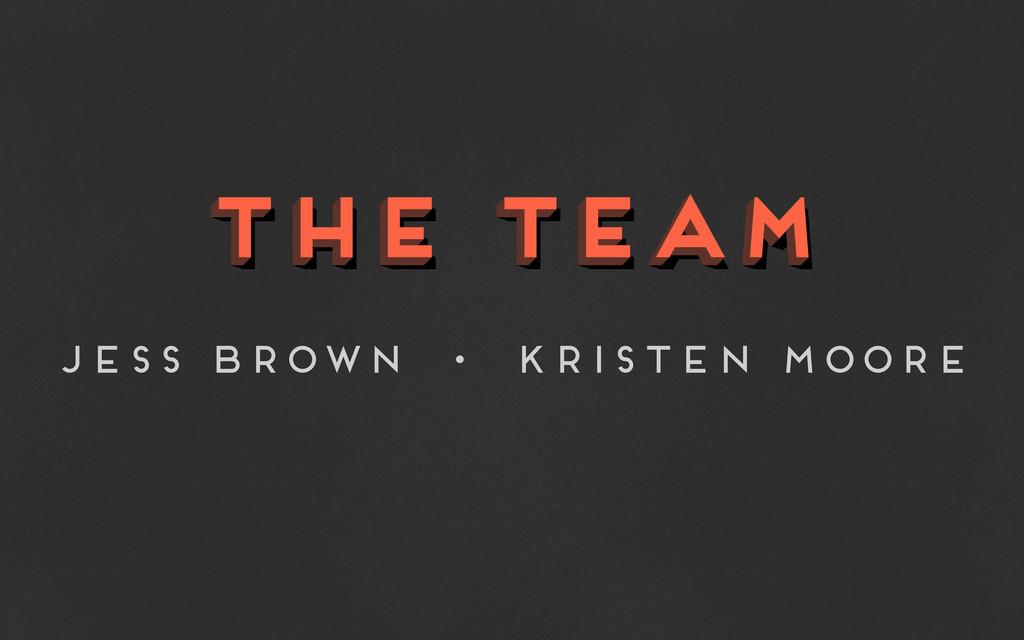the team the team the team Jess Brown • Kristen...