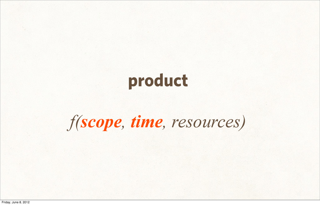 product f(scope, time, resources) Friday, June ...