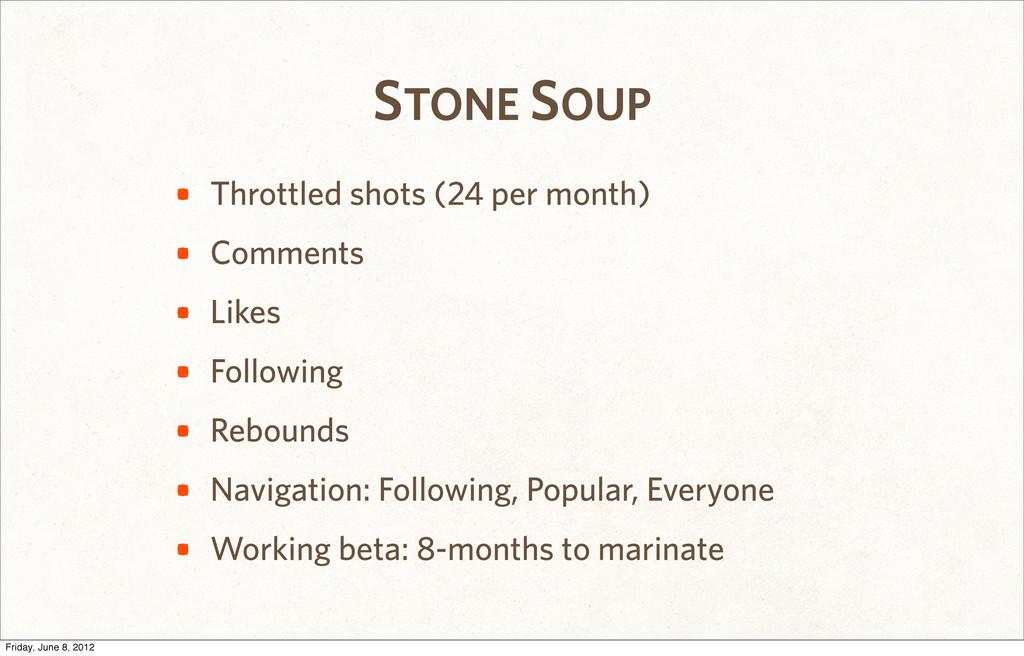 STONE SOUP • Throttled shots (24 per month) • C...