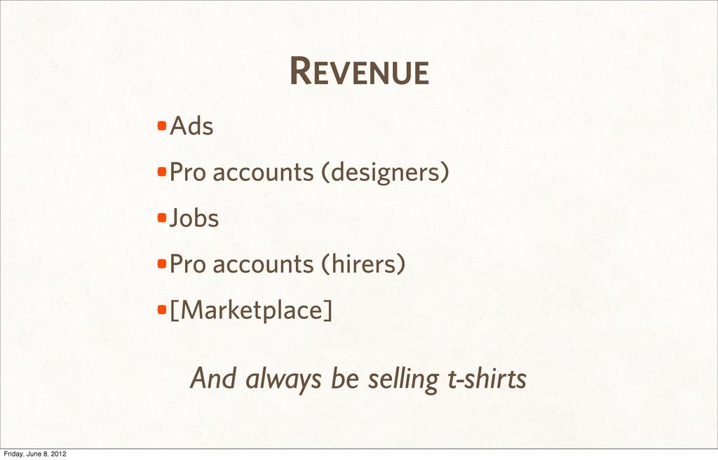 REVENUE •Ads •Pro accounts (designers) •Jobs •P...
