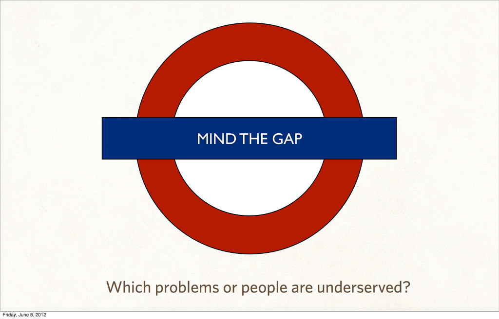 MIND THE GAP Which problems or people are under...