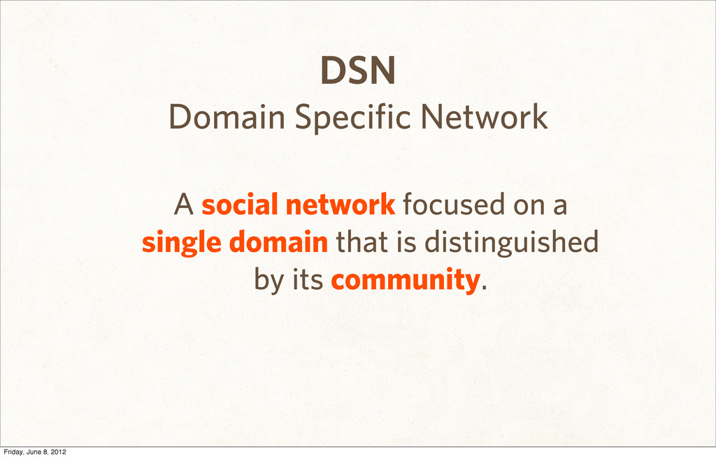 DSN Domain Specific Network A social network fo...