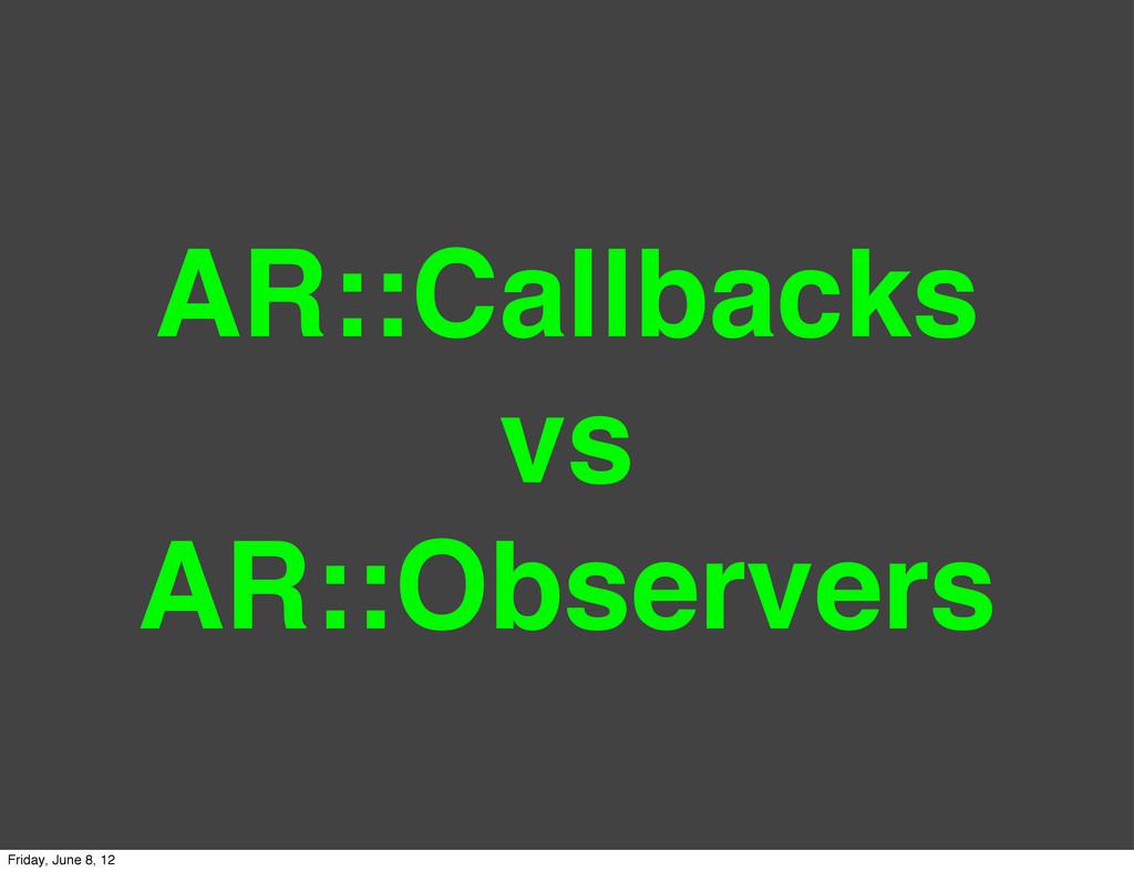 AR::Callbacks vs AR::Observers Friday, June 8, ...