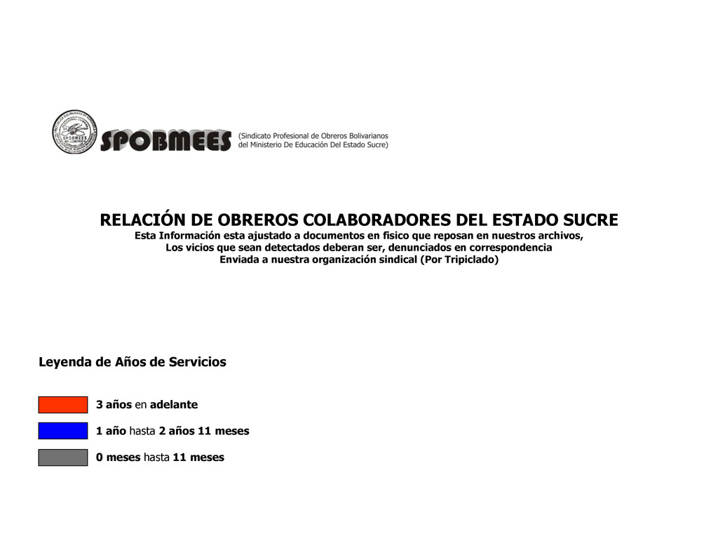 RELACIÓN DE OBREROS COLABORADORES DEL ESTADO SU...