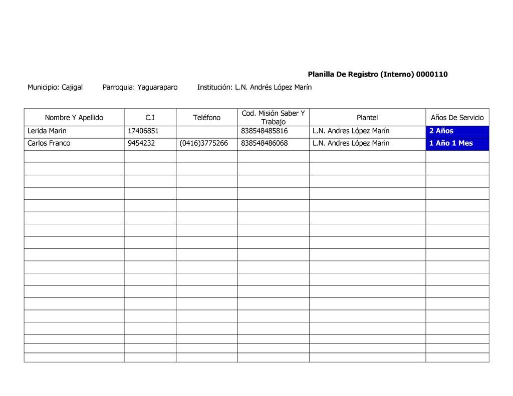 Planilla De Registro (Interno) 0000110 Municipi...