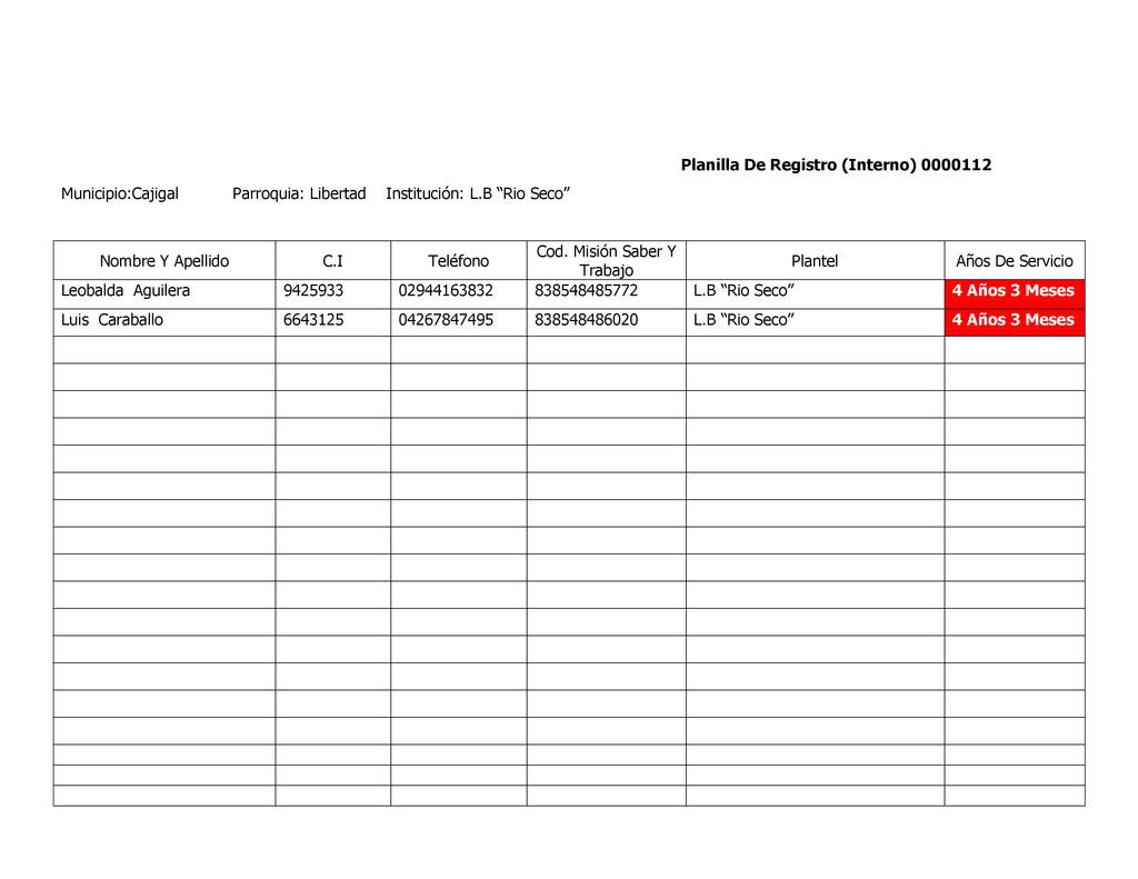 Planilla De Registro (Interno) 0000112 Municipi...