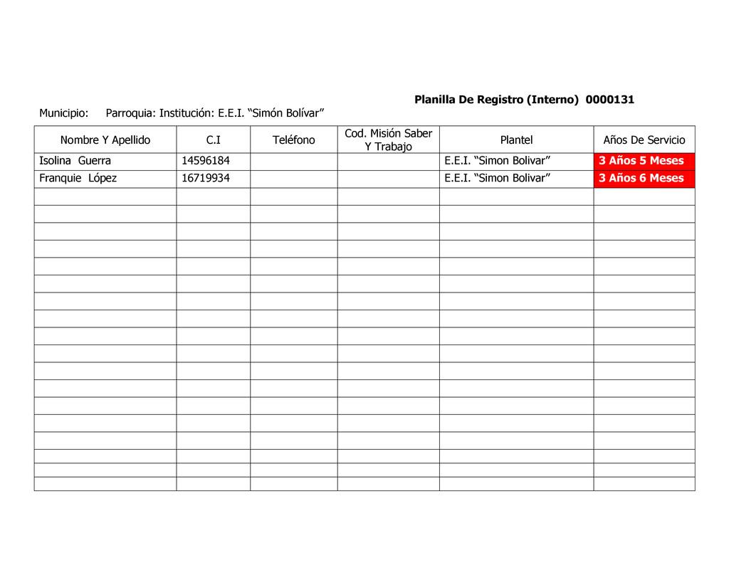 Planilla De Registro (Interno) 0000131 Municipi...