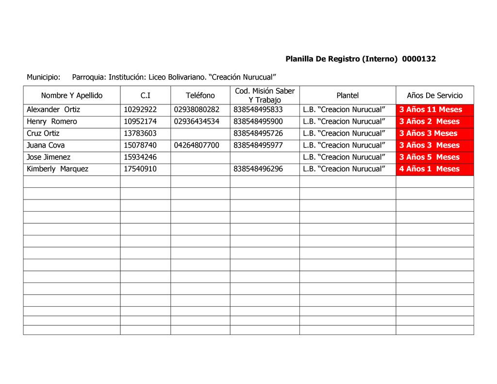 Planilla De Registro (Interno) 0000132 Municipi...