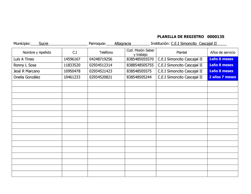 PLANILLA DE REGISTRO 0000135 Municipio:____Sucr...