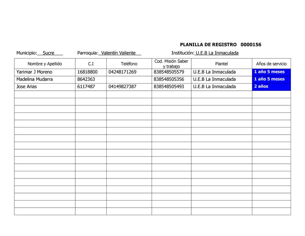 PLANILLA DE REGISTRO 0000156 Municipio: Sucre P...