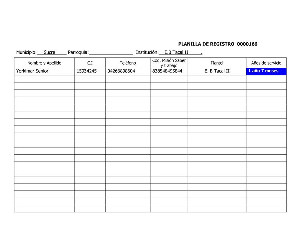 PLANILLA DE REGISTRO 0000166 Municipio: Sucre P...