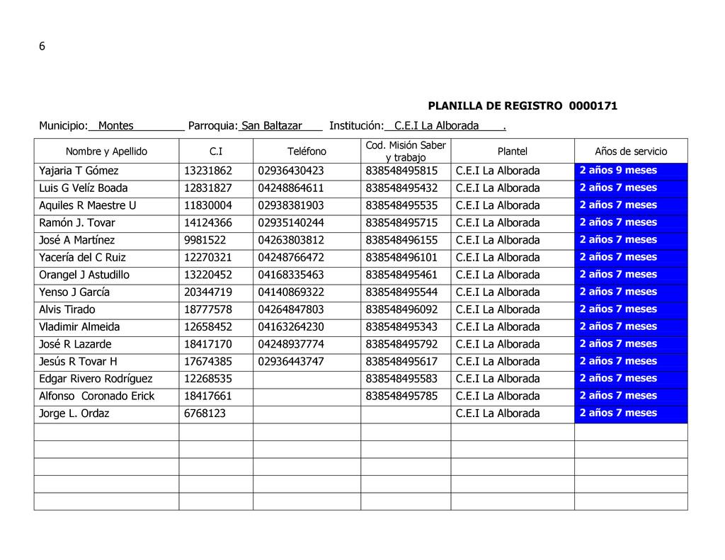 6 PLANILLA DE REGISTRO 0000171 Municipio: Monte...