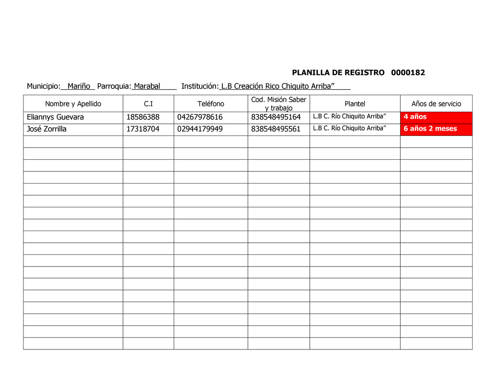 PLANILLA DE REGISTRO 0000182 Municipio: Mariño ...
