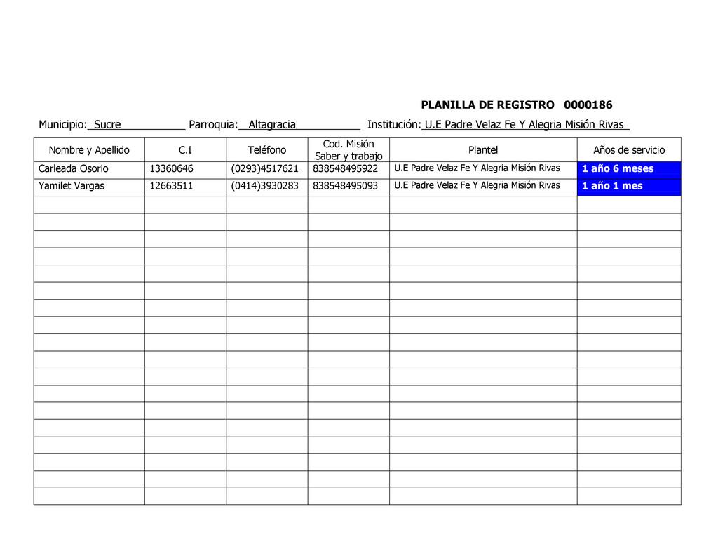 PLANILLA DE REGISTRO 0000186 Municipio: Sucre P...