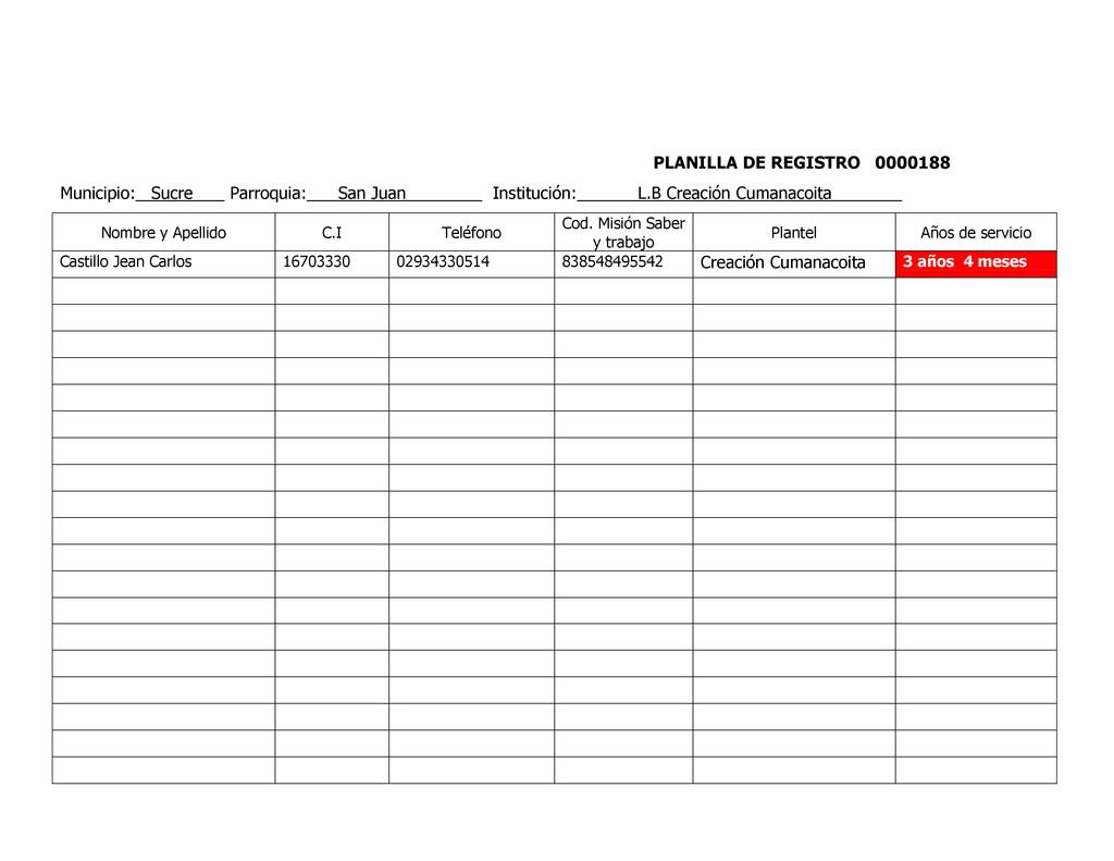 PLANILLA DE REGISTRO 0000188 Municipio: Sucre P...