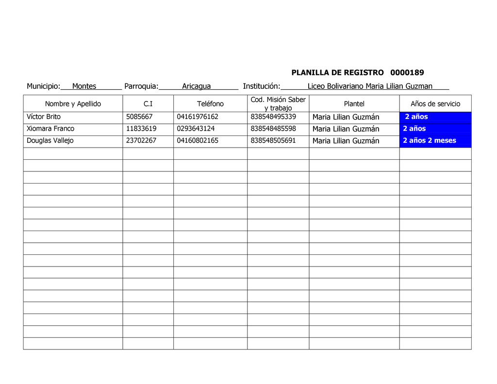 PLANILLA DE REGISTRO 0000189 Municipio: Montes ...
