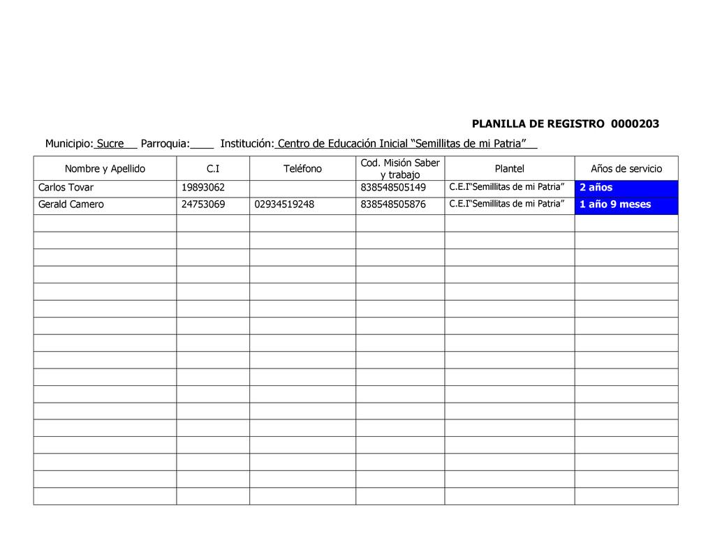 PLANILLA DE REGISTRO 0000203 Municipio: Sucre P...
