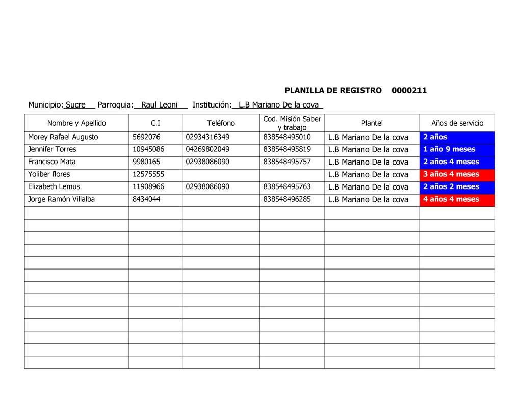 PLANILLA DE REGISTRO 0000211 Municipio: Sucre P...